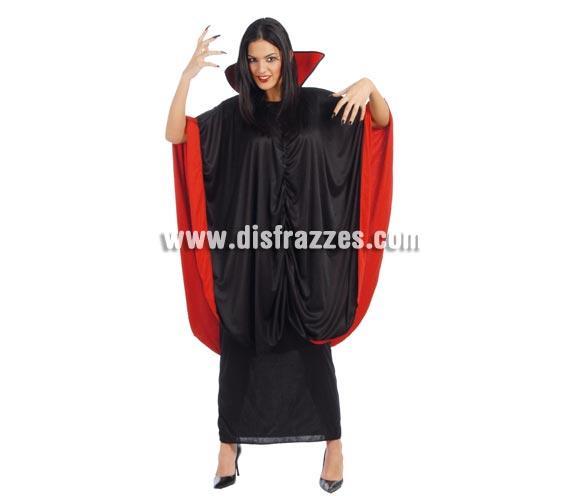 Disfraz de Vampira para Halloween adulta. Talla única 42/44. Incluye vestido y capa.