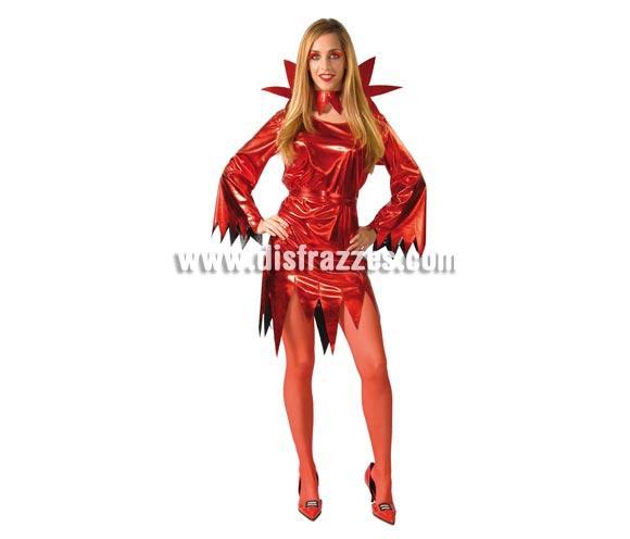 Disfraz de Diablesa Vinilo Sexy para Halloween para chicas. Disfraz de Demonia de Halloween. Talla única válida hasta la 42/44.