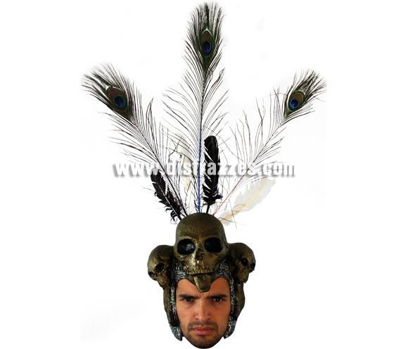 Casco Wanka Helmet para Halloween. Alta calidad. Fabricado en látex artesanalmente por una empresa que hace efectos especiales para Hollywood. Plumas incluidas.