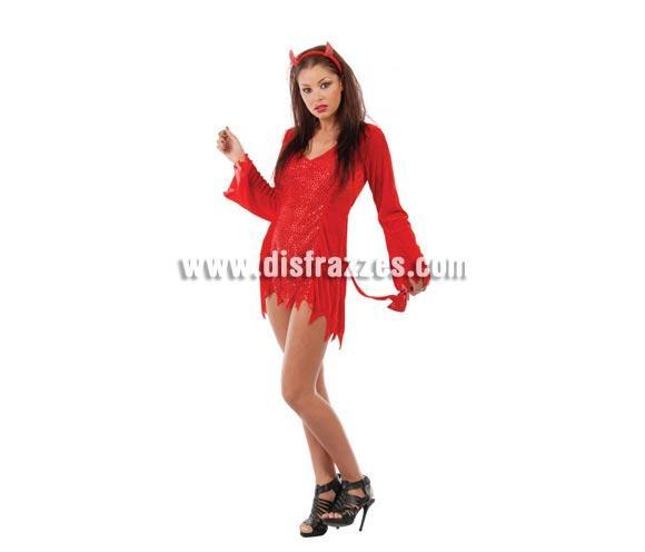 Disfraz de Diablesa o Demonia Sexy para Halloween adulta barato. Talla única válida hasta la 42/44. Incluye diadema, vestido y cola.