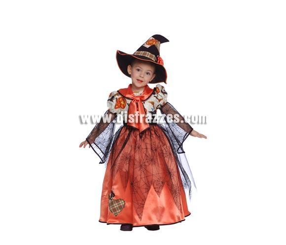 Disfraz de Bruja Naranja para Halloween pequeña barato. Talla de 4 a 6 años. Incluye vestido con telarañas y gorro o sombrero de Bruja.