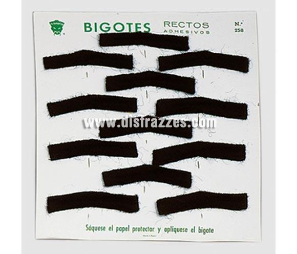 Bigote recto adhesivo de color negro. Precio por unidad, se venden por separado.