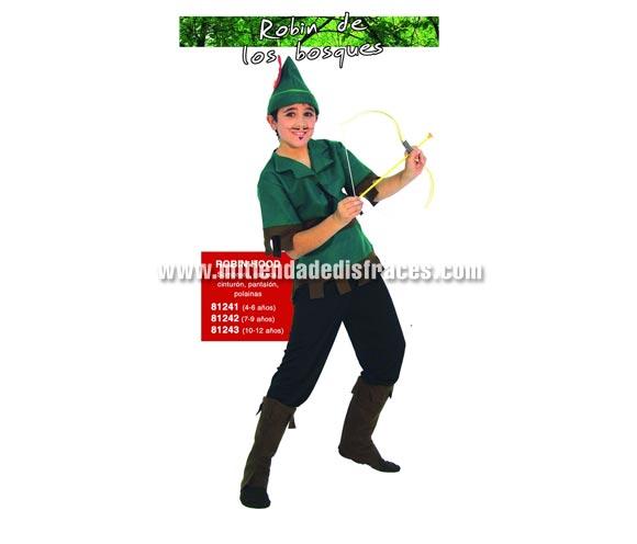 Disfraz de Robin de los Bosques infantil. Talla de 7 a 9 años. Incluye sombrero, casaca, cinturón, pantalón y cubrebotas. Arco y flecha NO incluidos, podrás verlos en la sección Complementos. Disfraz de Robin Hood para niño.