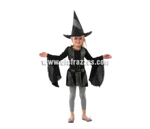 Disfraz de Bruja negra infantil para Halloween barato. Talla de 7 A 9 años. Incluye vestido y sombrero o gorro de Bruja.