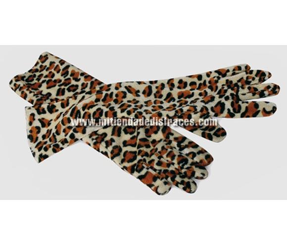 Guantes largos leopardo de 40 cms.