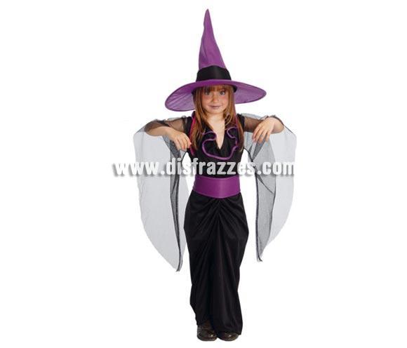 Disfraz de Bruja niña para Halloween negro y morado barato. Talla de 7 a 9 años. Incluye vestido y sombrero o gorro de Bruja.