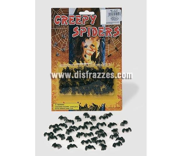 Blister de 40 arañas o tarántulas pequeñitas para decoración de Halloween.