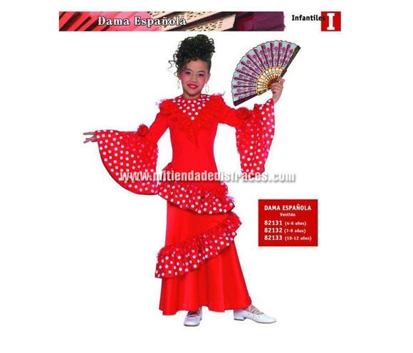 Disfraz de Dama Española Infantil de 4 a 6 años. Incluye vestido. Abanico NO incluido. Disfraz de Flamenca o Sevillana para niña.
