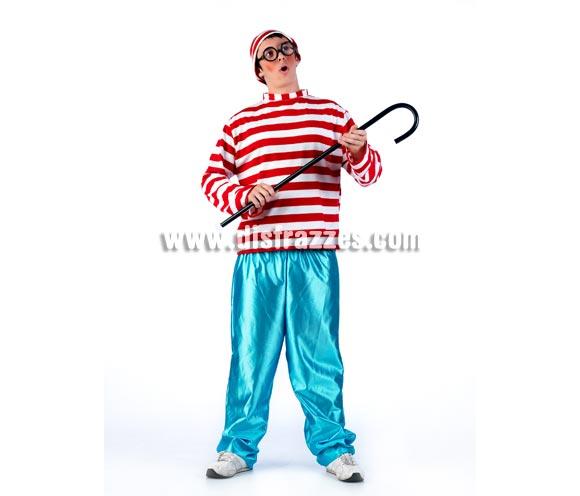 Disfraz de Wally para Adulto. Disponible en varias tallas. Incluye gorro, camiseta a rayas y pantalón. Bastón y gafas NO incluidos, podrás verlos en la sección de Complementos con refs. 112SR ó también la 16232GUI.
