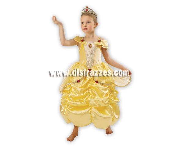 Disfraz de la Bella para niña. Talla de 7 a 8 años. Incluye corona y vestido. Disfraz con licencia Disney ideal para regalar.