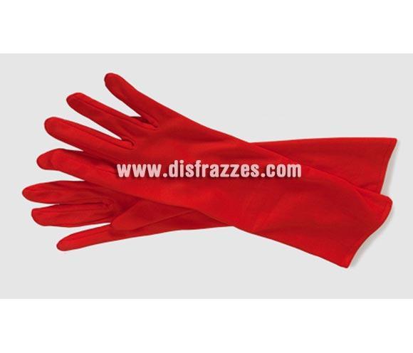 Guantes largos rojos adaptables de 37 cm. de longitud para Halloween baratos. Ideal como complemento de tu disfraz de Diablesa.