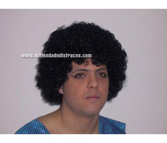 Peluca Rizada negra. Muy buena calidad. Fabricada en España. Talla universal. Ideal para el disfraz de Michael Jackson o de Payaso.