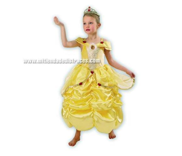 Disfraz de la Bella. Talla de 9 a 10 años. Incluye corona y vestido. Disfraz con licencia Disney ideal para regalar en Papa Noel y Reyes Magos.