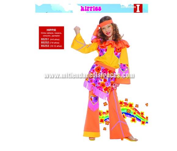 Disfraz de Hippie infantil. Talla de 7 a 9 años. Incluye cinta de la cabeza, casaca, cinturón y pantalón. Disfraz de Hippie para niña.