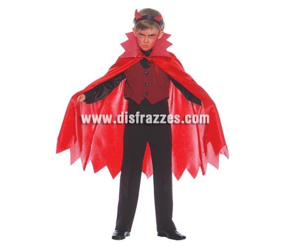 Disfraz de Demonio o Diablo para Halloween infantil. Talla de 10 a 12 años. Incluye: camisa con chaleco, pantalón y capa.