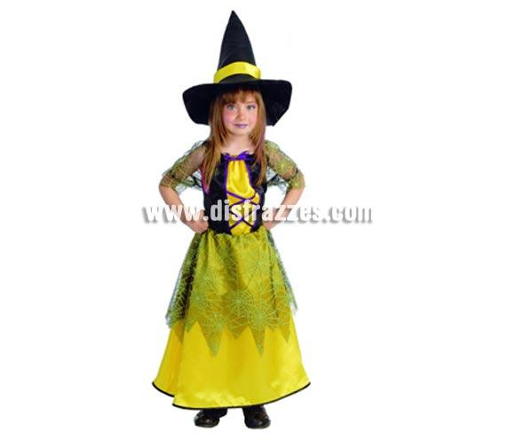 Disfraz de Bruja amarilla para Halloween infantil. Talla de 7 a 9 años. Incluye vestido y gorro o sombrero de Bruja.