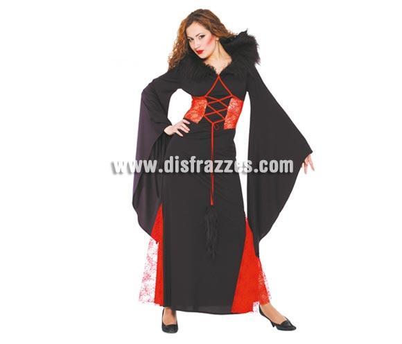 Disfraz de Morticia para Halloween adulta. Talla única válida hasta la 42/44. Incluye vestido.