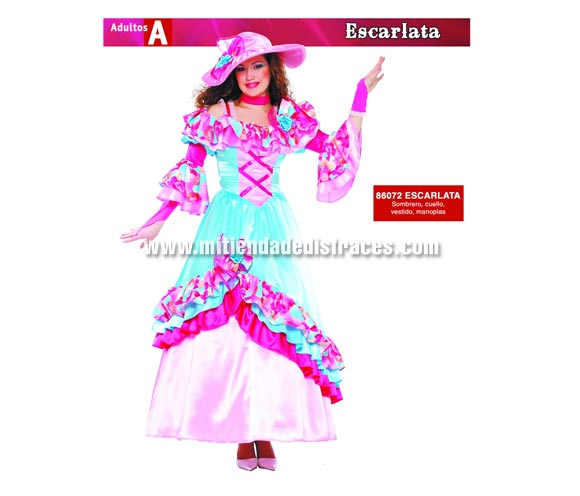 Disfraz de Escarlata adulta. Talla única 38/42. Invlcluye sombrero, cinta del cuello, vestido y manoplas. Disfraz de Escarlata para mujer