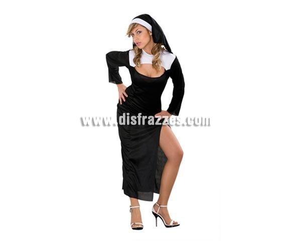 Disfraz barato de Monja Sexy para mujer. Talla standar M-L = 38/42. Incluye vestido y tocado. Éste disfraz también se usa mucho en Despedidas de Soltera y en Fiestas Populares.
