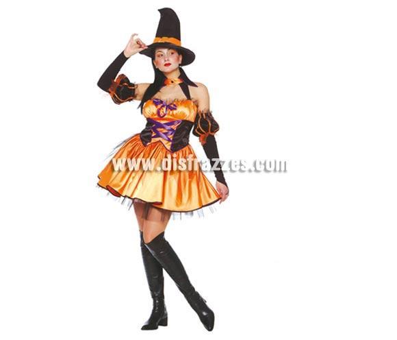 Disfraz de Bruja Sexy naranja adulta para Halloween. Talla única válida hasta la 42/44. Incluye gorro, cuello, mangas y vestido.