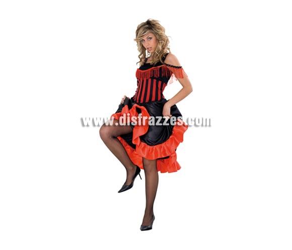 Disfraz muy barato de Can-Can para mujer. Talla standar M-L = 38/42. Incluye vestido. También disfraz de mujer de bar del oeste o cabaretera.