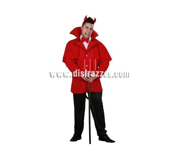 Disfraz de Diablo adulto de Halloween. Talla Standar M-L = 52/54. Disfraz de Demonio que incluye cuernos, pajarita, chaqueta, pantalones y rabo. Tridente NO incluido, podrás verlo en la sección de Complementos.