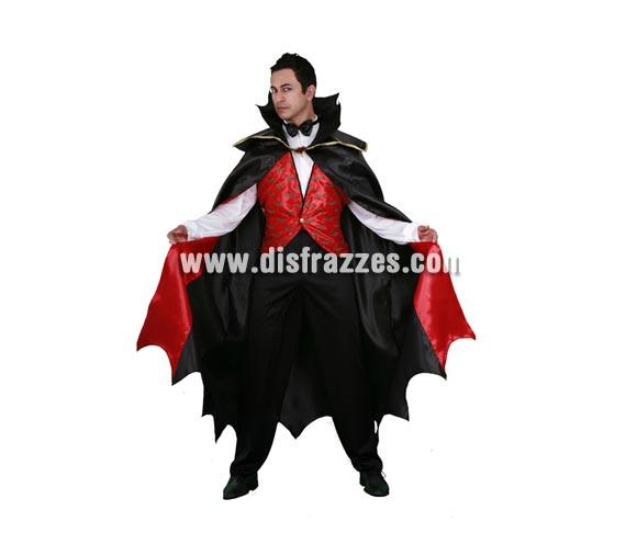 Disfraz de Vampiro adulto para Halloween. Talla Standar M-L 52/54. Disfraz de Drácula de Halloween. Pantalones y pajarita NO incluidos.