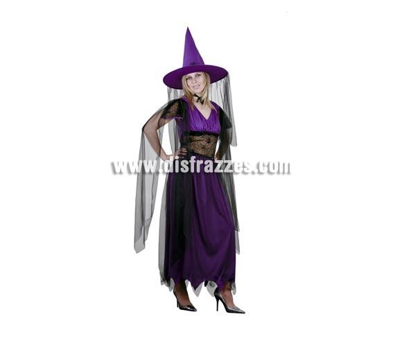 Disfraz de Bruja Morada adulta para Halloween barato. Talla stándar M-L= 38/42. Incluye sombrero, vestido y gargantilla.