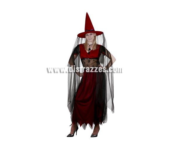 Disfraz de Bruja Granate adulta para Halloween barato. Talla estándar M-L = 38/42. Incluye sombrero, vestido y gargantilla.