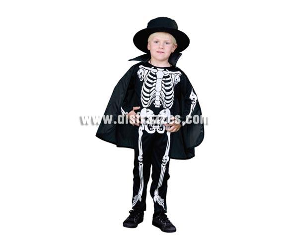Disfraz de Eskeleton Económico talla de 3 a 4 años. Incluye sombrero, mono y capa. Disfraz de esqueleto para niños.