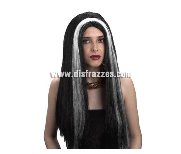 Peluca morena con mechas blancas adulta para Halloween. Talla estándar. Peluca de Morticia para mujer en Halloween.