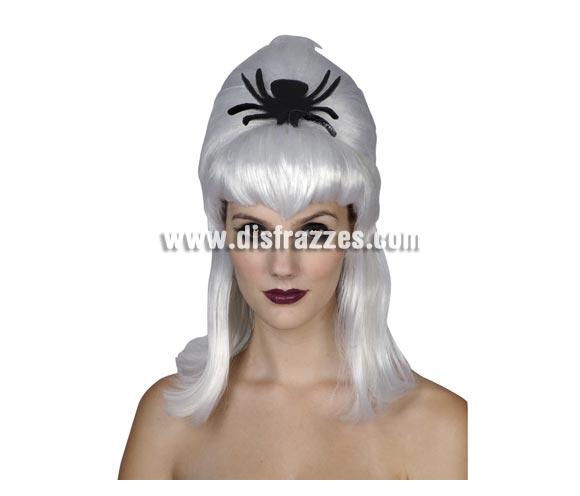 Peluca Plateada con Araña negra mujer adulta para Halloween. Talla única.
