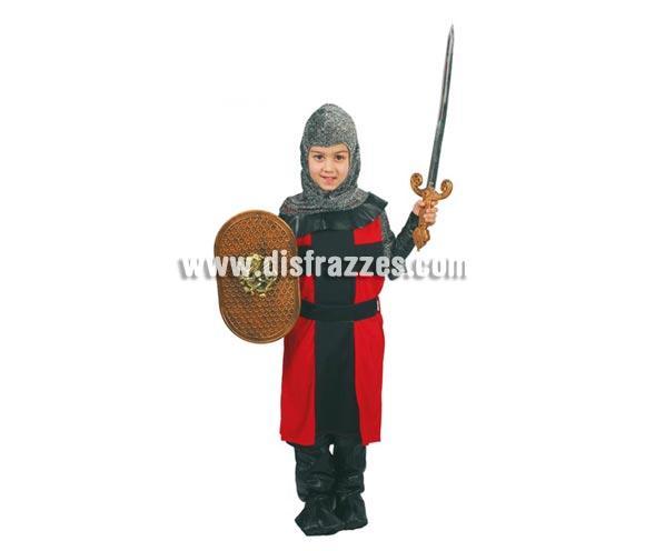 Disfraz barato de Caballero Medieval Infantil talla de 10 a 12 años. Incluye capucha, traje, cinturón y polainas. Escudo y espada NO incluidos.