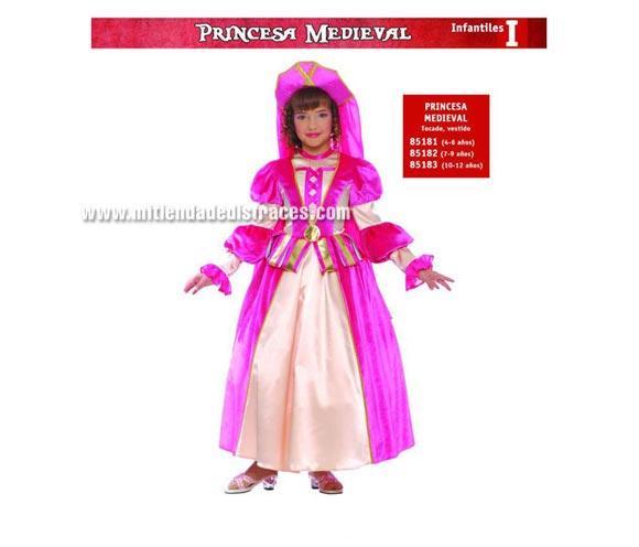 Disfraz de Princesa Medieval Infantil talla de 7 a 9 años. Incluye tocado y vestido.