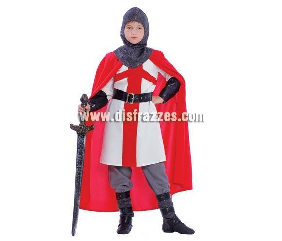 Disfraz de Caballero Cruzado para niños. Talla de 7 a 9 años. Incluye capucha, túnica, capa, cinturón y botas. Espada NO incluida podrás verla en la sección de Complementos. Disfraz de Templario para niño perfecto para Fiestas y Ferias Medievales.