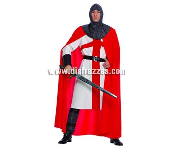 Disfraz de Caballero Cruzado para hombre. Talla única 52/54. Incluye capucha, túnica, capa, cinturón y botas. Espada NO incluida, podrás verla en la sección Complementos. Disfraz de Templario Medieval para hombre.