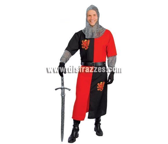 Disfraz de Caballero o Guerrero Medieval para hombre. Talla única 52/54. Incluye capucha, túnica y cinturón. Espada NO incluida, podrás verla en la sección de Complementos.