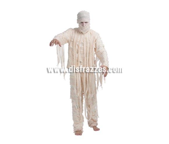 Disfraz de Momia adulto para Halloween. Talla Standar M-L =  52/54. Disfraz de Halloween que incluye camisa, pantalón y máscara. Como no hay disfraz de Momia en tallas de mujer, podéis comprar éste disfraz y arreglarlo si no os queda bien.