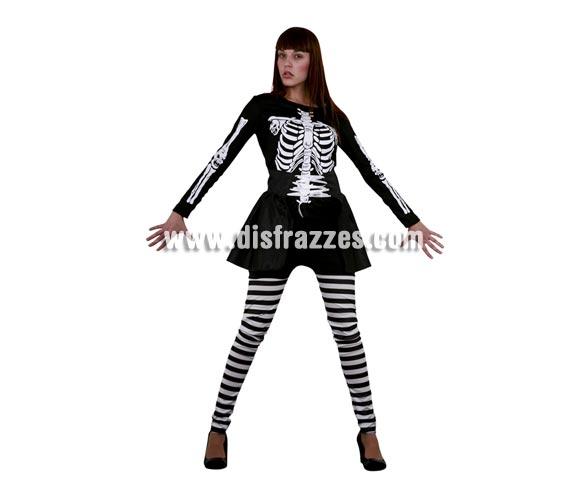 Disfraz de Skeleton Lady adulta para Halloween. Talla Standar M-L = 38/42. Disfraz de Halloween barato que incluye camiseta, pantalón y falda. Disfraz de Esqueleto para mujer.