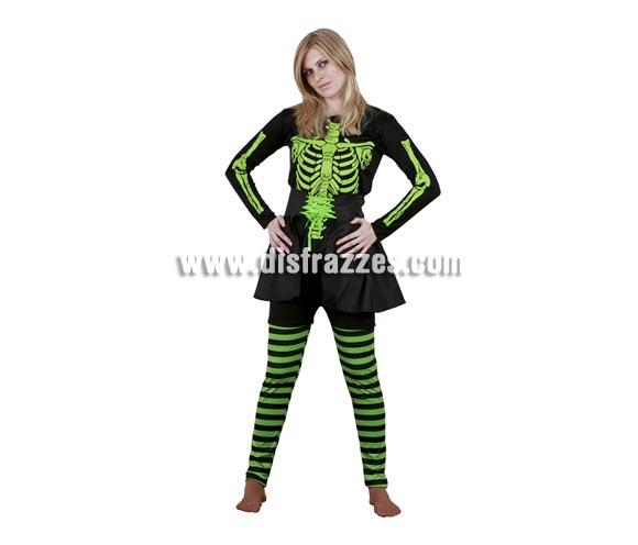 Disfraz de Skeleton Lady Verde adulta para Halloween. Talla Standar M-L = 38/42. Disfraz de Halloween barato que incluye camiseta, pantalón y falda. Disfraz de Esqueleto verde para mujer.