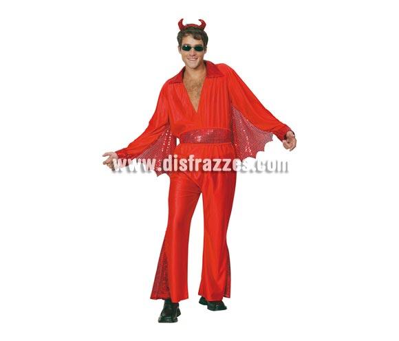 Disfraz de Demonio adulto para Halloween barato. Talla Standar M-L = 52/54. Incluye camisa, pantalón, cinturón y cuernos. Gafas NO incluidas.