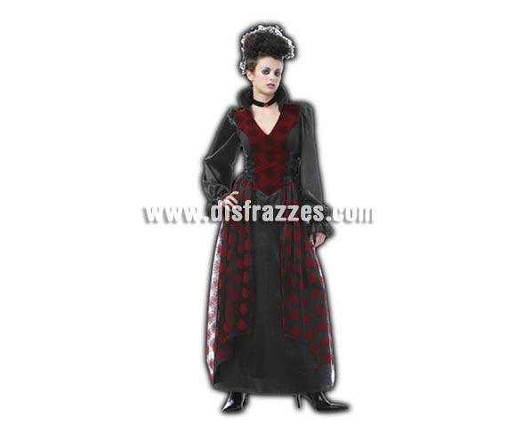 Disfraz de Vampiresa adulta para Halloween. Talla Standar M-L 38/42. Disfraz barato para Halloween que incluye vestido y gargantilla.