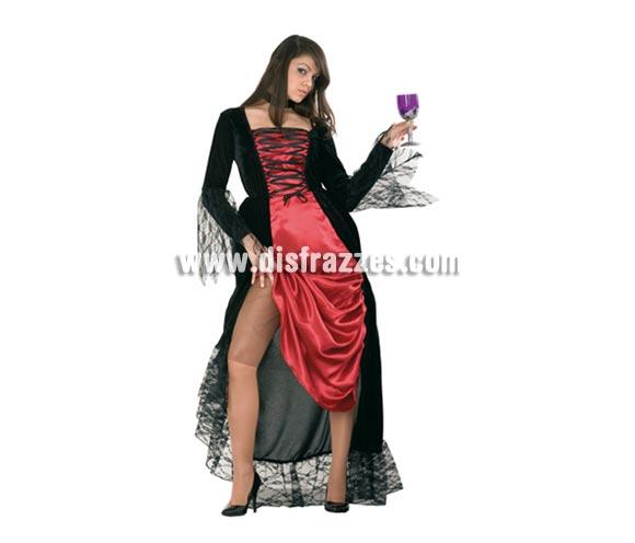 Disfraz de Dama Vampiresa adulta para Halloween. Talla Standar M-L = 38/42. Disfraz barato de Halloween que incluye vestido y gargantilla. Copa NO incluida.