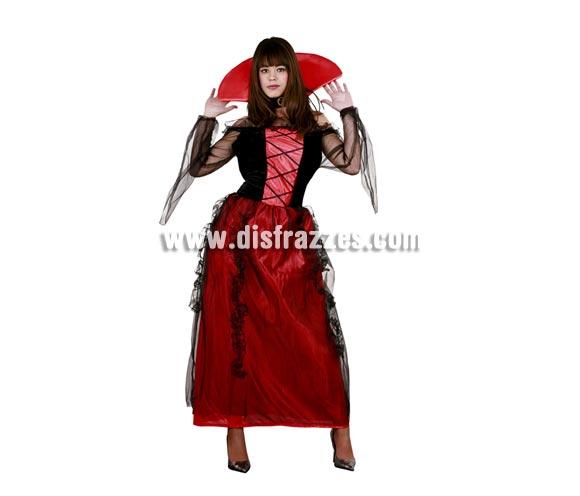Disfraz de Vampiresa adulta para Halloween. Talla Standar M-L = 38/42. Disfraz de Vampira para Halloween barato que incluye vestido y collar.