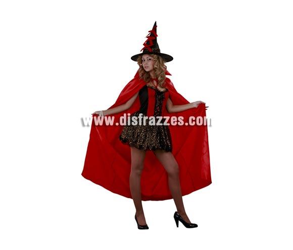 Disfraz de Bruja Roja con capa adulta para Halloween. Talla estándar M-L = 38/42. Disfraz de Halloween barato. Incluye vestido, sombrero y capa roja.