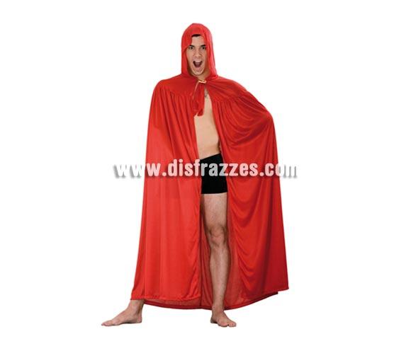 Capa con Capucha en tela de Punto de color Rojo para Halloween. Capa de Diablo para Halloween talla única de adultos.