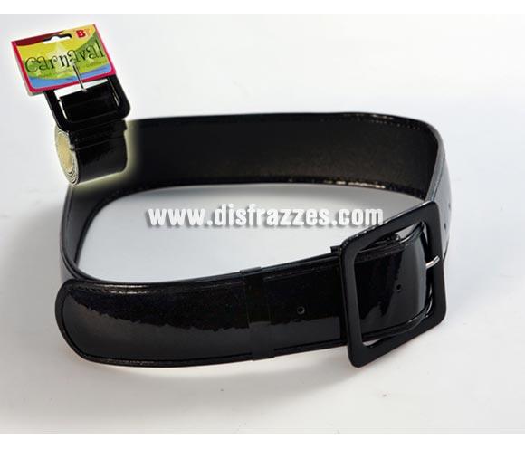 Cinturón Negro 107 cm. Talla estándar adultos. Ideal como complemento de tu disfraz de Papa Noel, Pirata, Enterrador, etc.