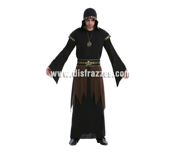 Disfraz de Muerte Hombre adulto económico. Talla Standar M-L = 52/54. Incluye túnica con capucha, cinturón y collar con pentagrama.