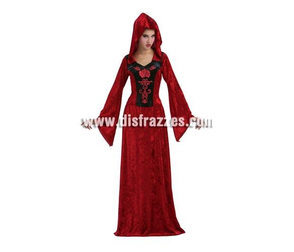 Disfraz de Vampiresa Gótica adulta para Halloween. Talla Standar M-L 38/42. Disfraz barato de Halloween que incluye vestido con capucha.