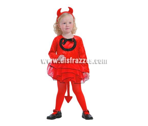 Disfraz de Demonia o Diablesa niña barato para Halloween. Talla de 3 a 4 años. Incluye vestido con tutú, rabo y diadema cuernos. Medias NO incluidas.